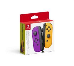 Paire De Manettes Nintendo Switch Joy Con Violet Neon Et Orange Neon